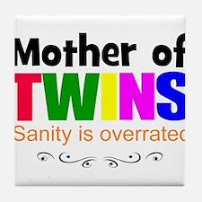 crazy mom of twins Tile Coaster