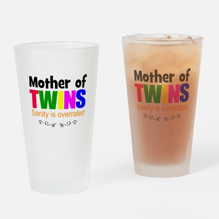 crazy mom of twins Drinking Glass
