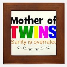 crazy mom of twins Framed Tile