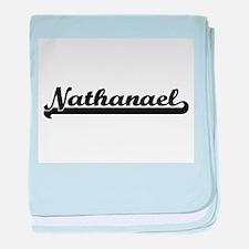 Nathanael Classic Retro Name Design baby blanket