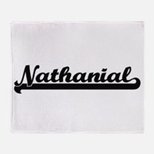 Nathanial Classic Retro Name Design Throw Blanket
