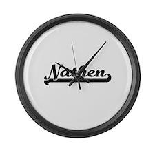 Nathen Classic Retro Name Design Large Wall Clock