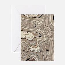 rustic brown swirls marble Greeting Cards