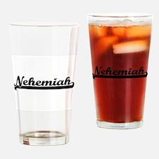 Nehemiah Classic Retro Name Design Drinking Glass