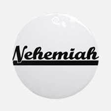 Nehemiah Classic Retro Name Desig Ornament (Round)