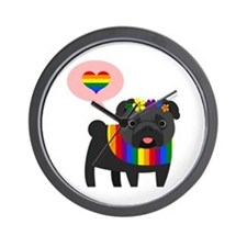 Gay Pride Pug - Black Pug Wall Clock