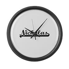 Nickolas Classic Retro Name Desig Large Wall Clock