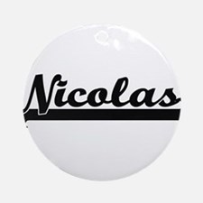 Nicolas Classic Retro Name Design Ornament (Round)