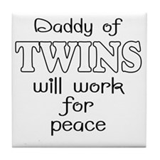 daddy of twins Tile Coaster