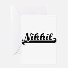 Nikhil Classic Retro Name Design Greeting Cards