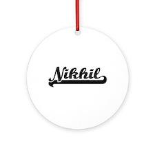 Nikhil Classic Retro Name Design Ornament (Round)