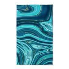 summer beach turquoise waves Area Rug
