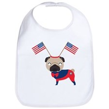 4th of July Pug with Flags Bib