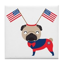 4th of July Pug with Flags Tile Coaster