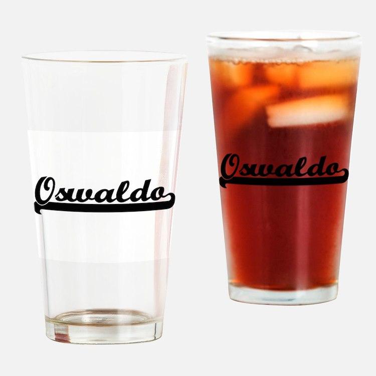 Oswaldo Classic Retro Name Design Drinking Glass