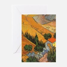 Van Gogh Valley w Ploughman Greeting Cards