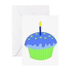 Blue Birthday Cupcake Greeting Card