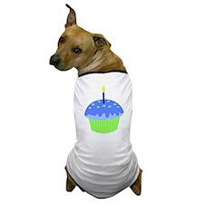 Blue Birthday Cupcake Dog T-Shirt