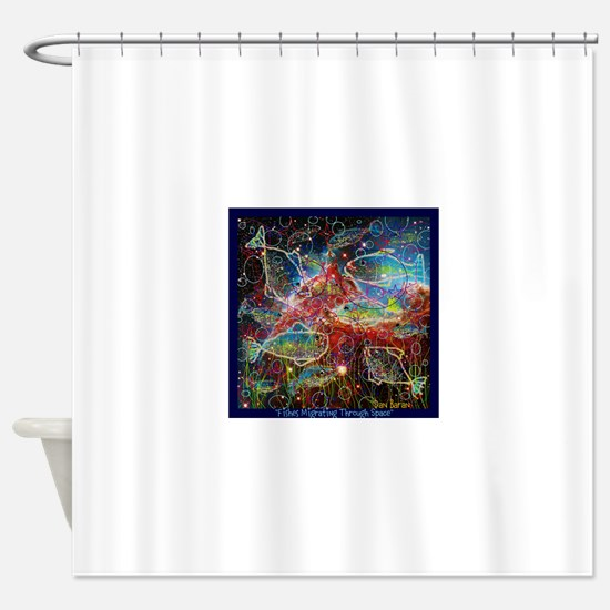 Fishes Migrating Though Space Shower Curtain