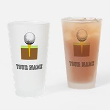 Golf Ball And Tee (Add Name) Drinking Glass