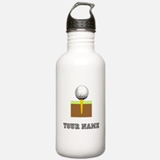 Golf Ball And Tee (Add Name) Water Bottle