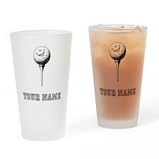 Cartoon Golf Ball (Add Name) Drinking Glass