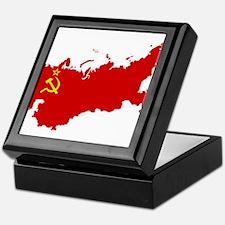 Red USSR Soviet Union map Communist C Keepsake Box