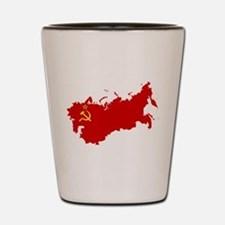 Red USSR Soviet Union map Communist Cou Shot Glass