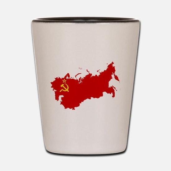 Red USSR Soviet Union map Communist Cou Shot Glass