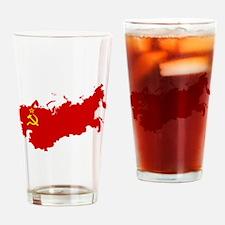 Red USSR Soviet Union map Communist Drinking Glass