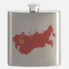 Red USSR Soviet Union map Communist Country Flask