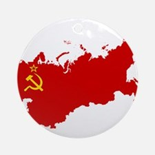 Red USSR Soviet Union map Communi Ornament (Round)