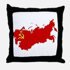 Red USSR Soviet Union map Communist C Throw Pillow