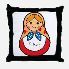 Matryoshka Russian Wooden Doll Throw Pillow