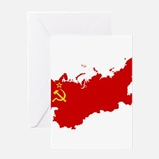 Red USSR Soviet Union map Communist Greeting Cards