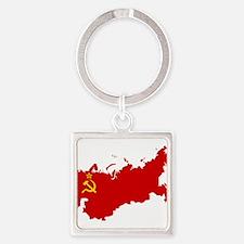 Red USSR Soviet Union map Communist Coun Keychains