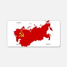 Red USSR Soviet Union map C Aluminum License Plate