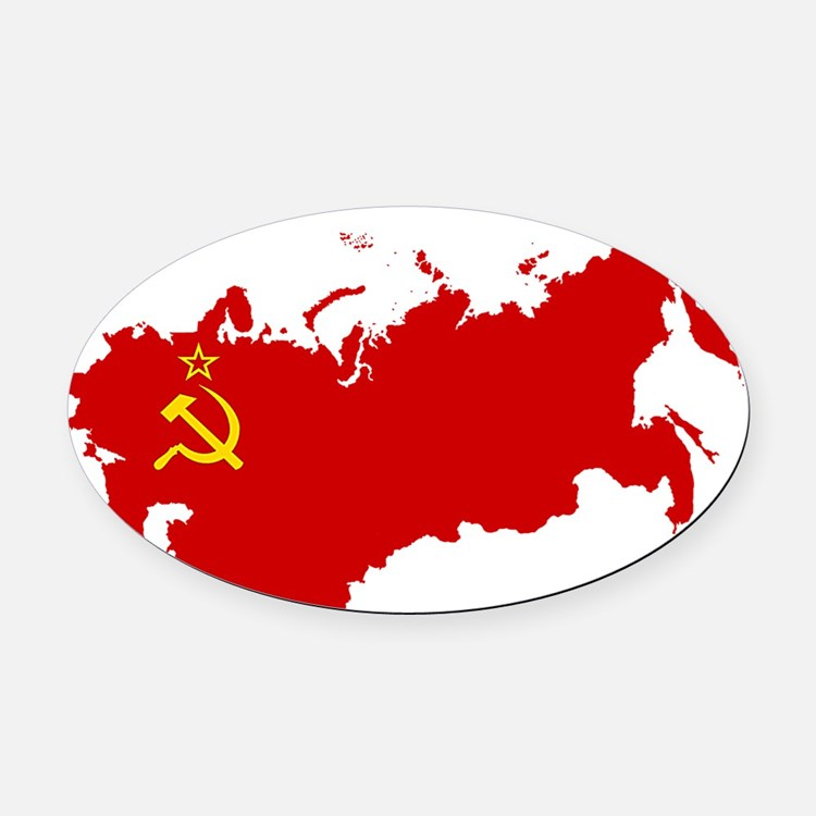 Red USSR Soviet Union map Communis Oval Car Magnet