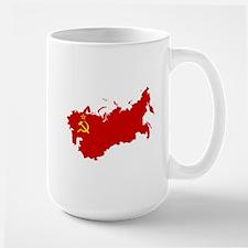 Red USSR Soviet Union map Communist Cou Mugs
