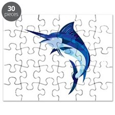 Blue Marlin Fish Jumping Low Polygon Puzzle