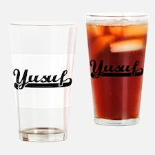 Yusuf Classic Retro Name Design Drinking Glass