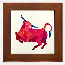 Texas Longhorn Bull Prancing Low Polygon Framed Ti
