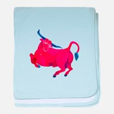 Texas Longhorn Bull Prancing Low Polygon baby blan