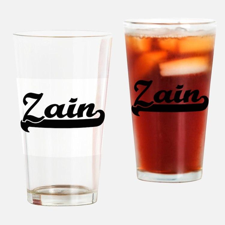 Zain Classic Retro Name Design Drinking Glass