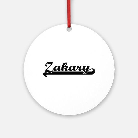 Zakary Classic Retro Name Design Ornament (Round)