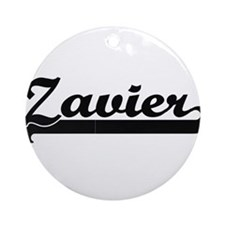Zavier Classic Retro Name Design Ornament (Round)