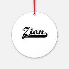 Zion Classic Retro Name Design Ornament (Round)