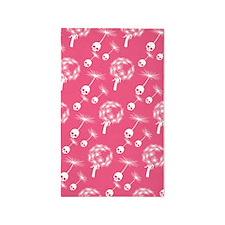 Pink Skull Dandelion Seeds Area Rug