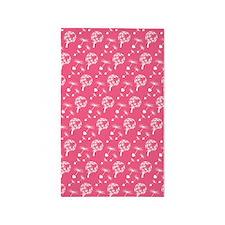Pink Dandelion Heart Seeds Area Rug