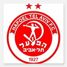 "Hapoel Tel Aviv Football Square Car Magnet 3"" x 3"""
